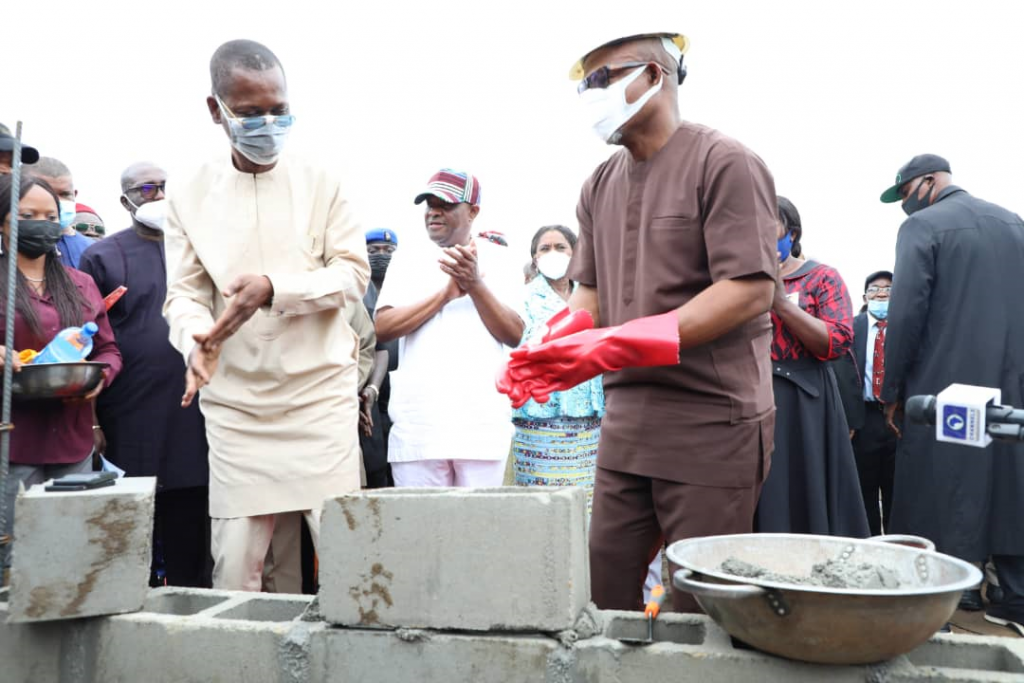 L-R: Special Adviser to the Governor of Rivers State on Special Projects, George-Kelly D. Alabo; Governor of Rivers State, Nyesom Ezenwo Wike, Deputy Governor of Rivers State, Dr. (Mrs.) Ipalibo Harry-Banigo and Senator Barry Mpigi during the flag off of reconstruction of Government Secondary School, Kpor in Gokana LGA on Wednesday.