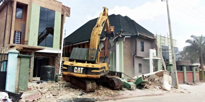 One of the demolished structures