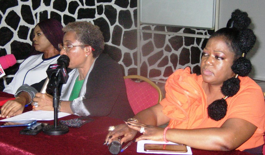 Treasurer, Womens International Shipping and Trading Association (WISTER) Nigeria, Dr Odunayo Ani, President, Mrs Eunice Ezeoke and Secretary, Chizoba Anyika during a news conference on the forthcoming business luncheon of the association, in Lagos.