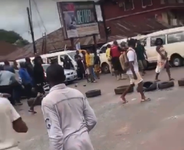 The youths at the road blockage ahead of June 12 celebration in Benin on Friday