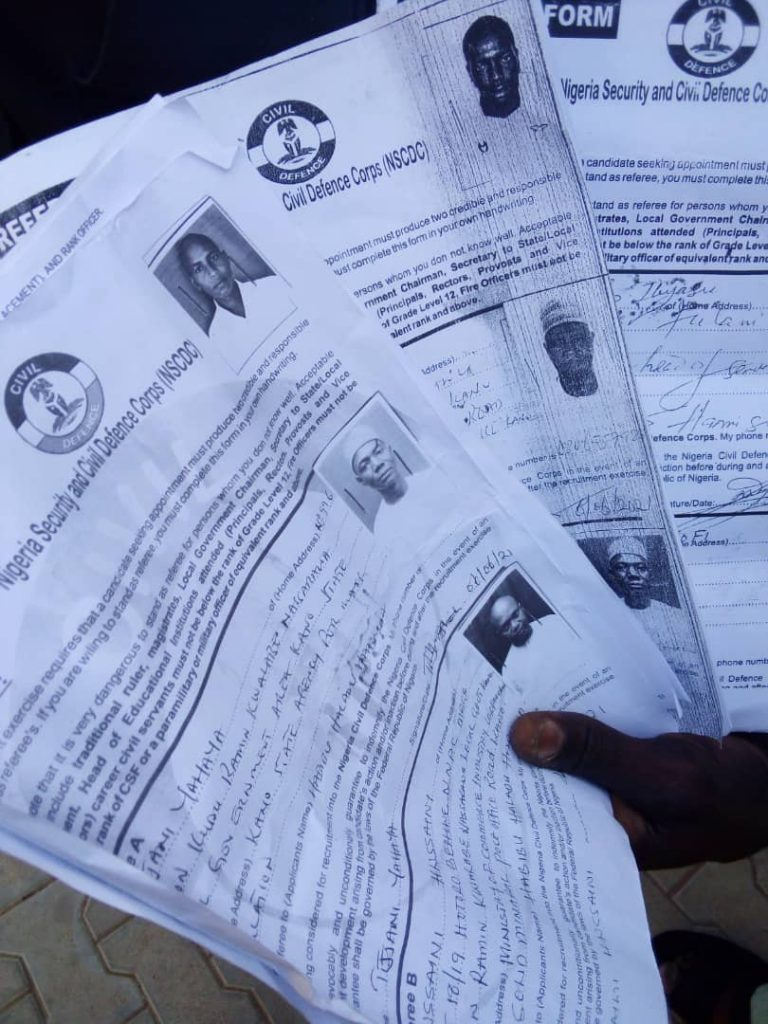 Fake civil defence employment forms being sold by the suspect