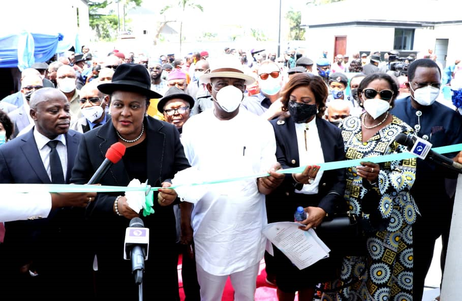 L-R: Chief Judge of Rivers State, Justice Simeon C. Amadi; Justice Mary Odili of the Supreme Court of Nigeria, Governor of Rivers State, Nyesom Ezenwo Wike; Justice Eberechi Suzzette Nyesom Wike; Deputy Governor of Rivers State,  Dr. (Mrs) Ipalibo Harry-Banigo and Speaker, Rivers State House of Assembly, Rt.Hon Ikuinyi-Owaji Ibani during commissioning of National Industrial Court Judges Quarters in Port Harcourt on Thursday by the Chief Justice of Nigeria, Justice Ibrahim Tanko Muhammad ,represented by Justice Mary Odili.