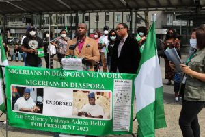 Nigerians in Diaspora holding a rally in Oberhausen, Germany to endorse Gov. Yahaya Bello as their candidate for President in 2023