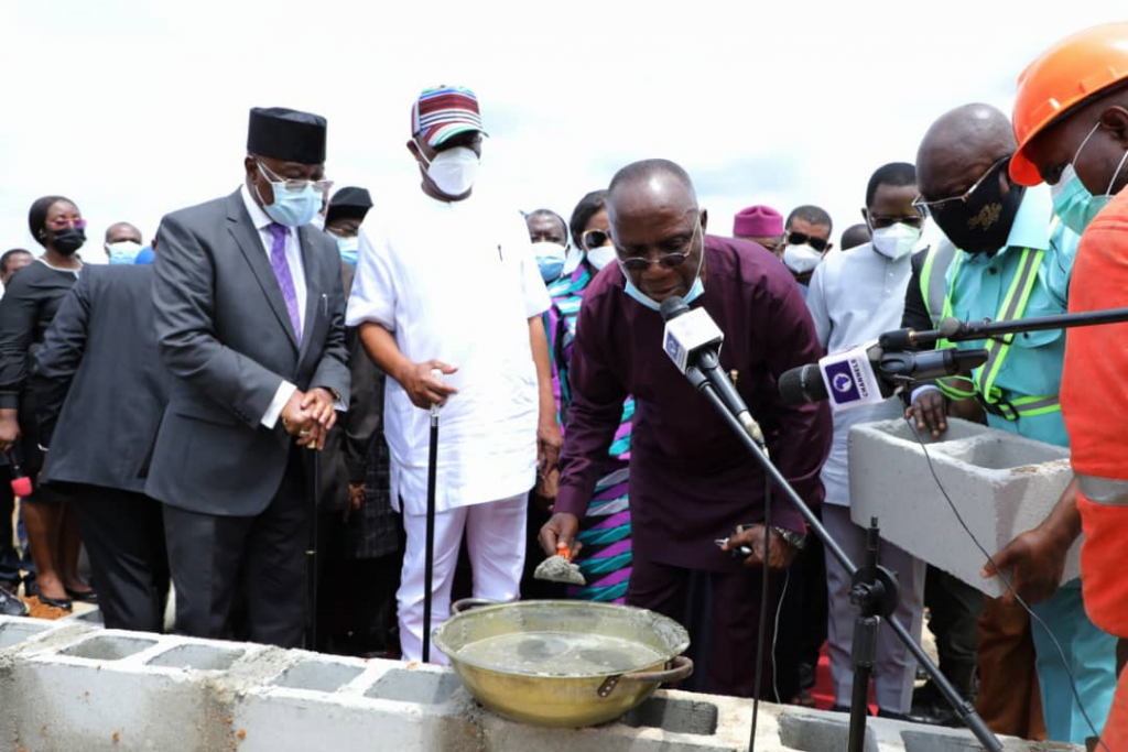 L-R: Pro-Chancellor of the Rivers State University, Hon. Iche Ndu; Governor of Rivers State, Nyesom Ezenwo Wike and former Vice Chancellor of the University of Port Harcourt, Prof Don Baridam, during the groundbreaking of the Etche campus of the Rivers State University at Abara-Etche on Tuesday.