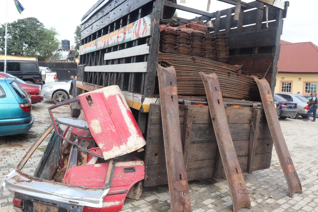 The stolen rail tracks parts recovered from the suspects