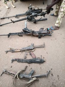 The recovered weapons