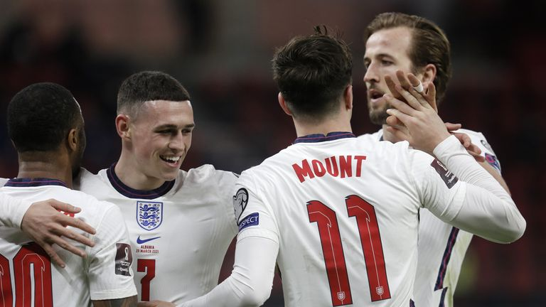 England players celebrate defeat of Germany in  EURO 2020