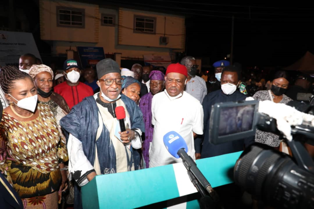 L-R: Deputy Governor of Rivers State, Dr. (Mrs) Ipalibo Harry-Banigo, Chairman of the Board of Trustees (BoT) of the  PDP, Senator Walid Jubril and  Governor of Rivers State, Nyesom Ezenwo Wike during the inauguration of nine reconstructed streets in Old GRA, Port Harcourt on Thursday night.