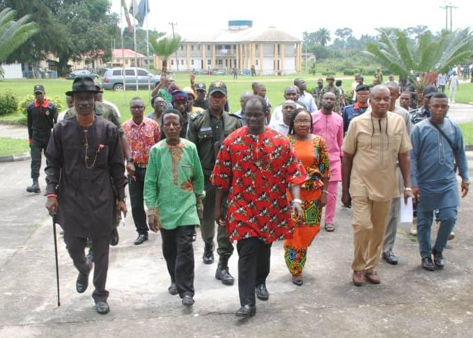 (3rd from left) Erastus Awortu, Chairman, Andoni LGA in Rivers in a group photograph traditional rulers of the area.