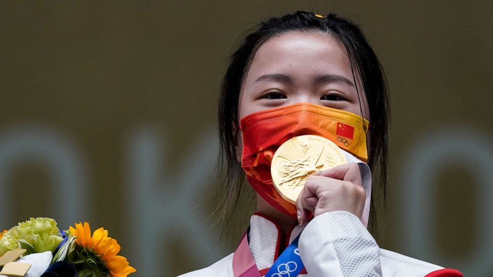 China's Yang: wins first gold medal of the Tokyo Olympic Games after coming tops in women's 10-metre air rifle event