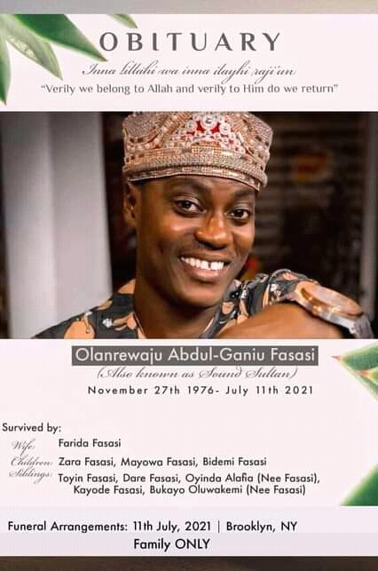 The burial programme for Sound Sultan as released by the family