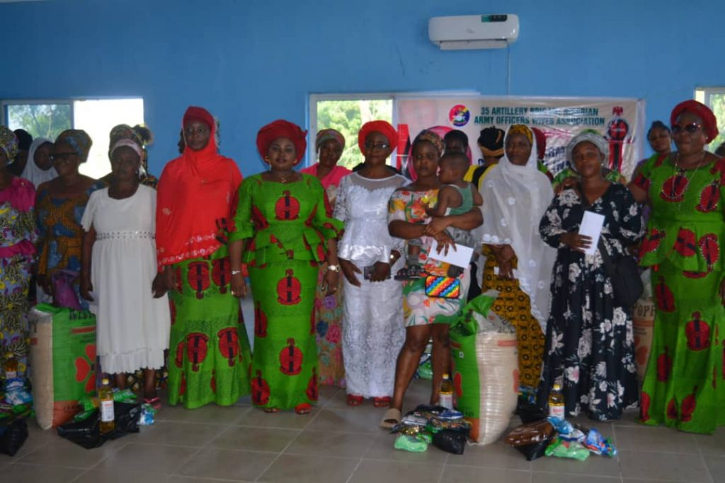 Nigerian Army Officers' Wives Association (NAOWA) 35 Artillery Brigade Chapter Abeokuta Ogun State during their courtesy visit to Stella Obasanjo Motherless Babies Home and donation of cash and other gift items to the inmates