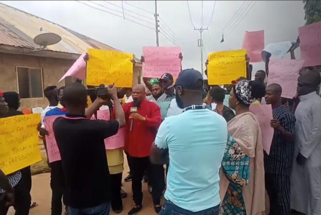 Igboho supporters during the protest to call for his release in Ibadan