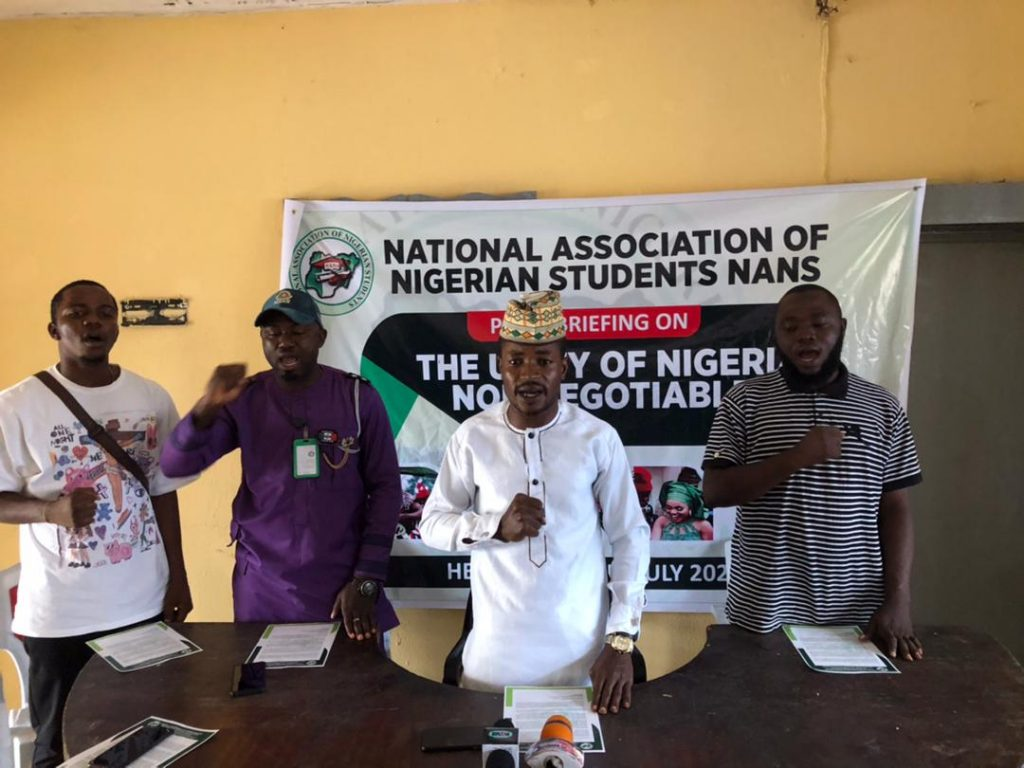 NANS President and other members during the press conference