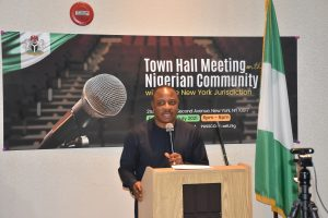 Amb. Gabriel Aduda, Permanent Secretary, Ministry of Foreign Affairs delivering remarks at a Town Hall meeting organised by the Consulate-General of Nigeria at the Nigeria House, New York