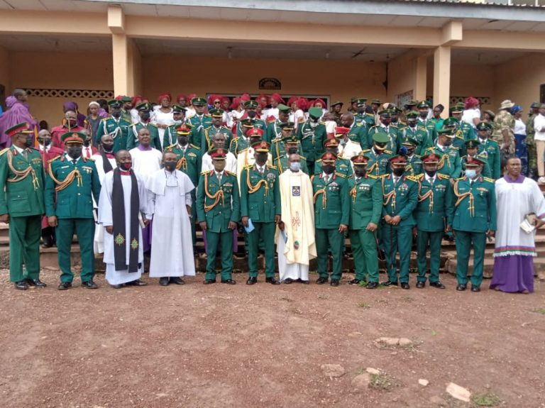 Group photograph of attendants at the combined special church service held in commemoration of the 2021 Nigerian Army Day Celebration (NADCEL) at St. Martin's Military Catholic Church, Abakpa Military Cantonment, Enugu
