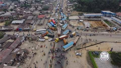 Aerial views  of the second day gridlocks caused by the protest on the Eleme section of the East-West road