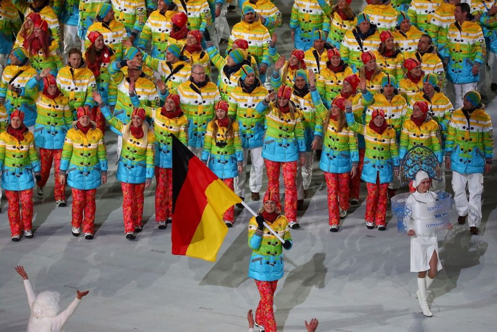 The German Tokyo 2020 Olympic team in their controversial outfit at the opening of the Games on Friday