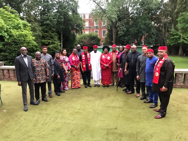 Igbo, Yoruba leaders in the UK in a group photograph with the Nigerian High Commissioner to the UK, Amb. Sarafa Isola after the meeting: They pledged commitment to the unity of Nigeria
