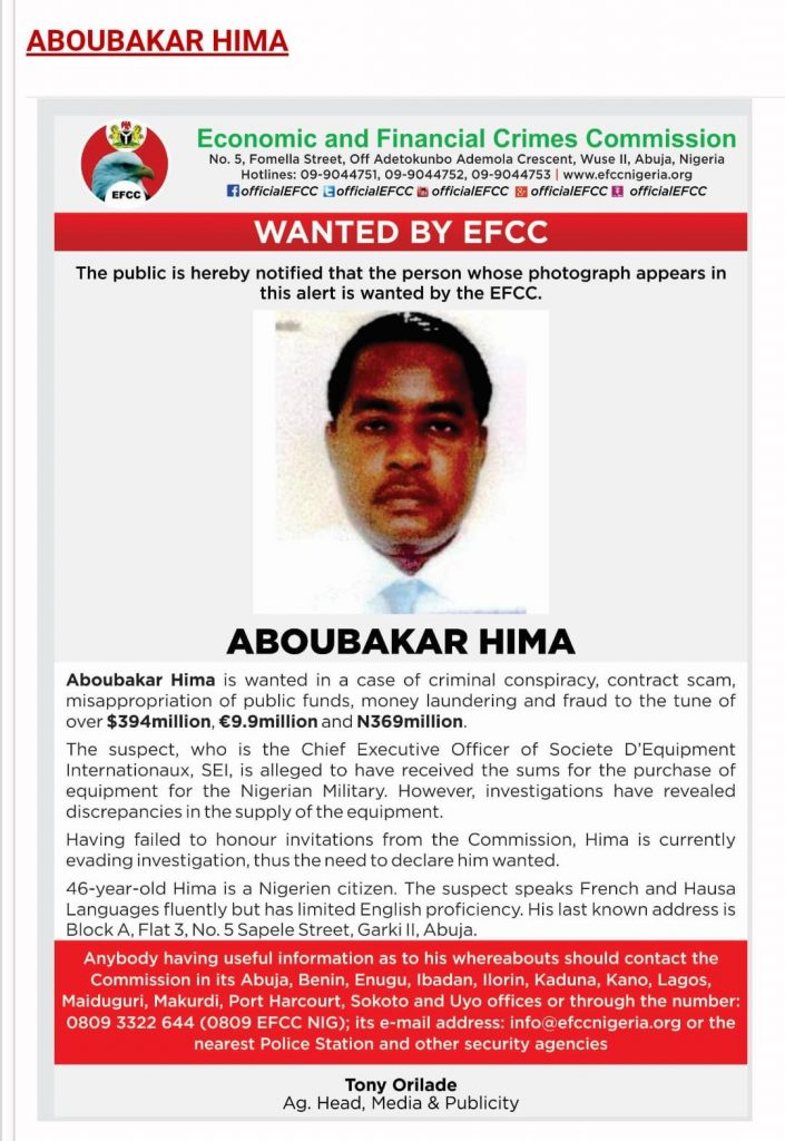 Hima: Nigerien declared wanted for stealing N200 billion from Nigeria