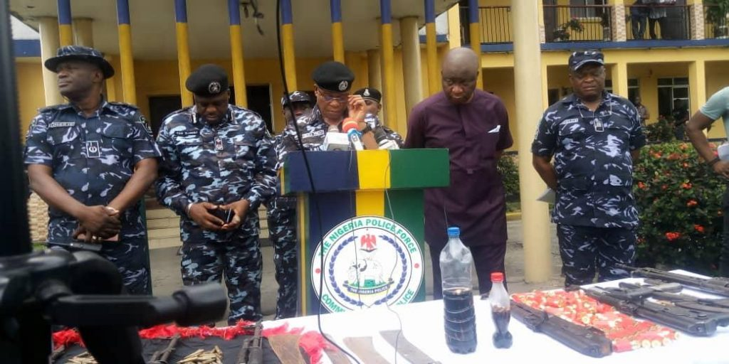 Rivers Police Commissioner, Eboka Friday  speaking during parade of the suspects