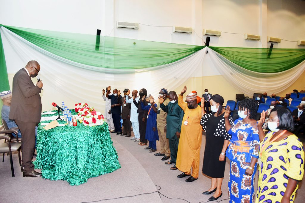 Justice Hamza Muazu of the FCT High Court administers the Oath of Secrecy and Declaration of Secrecy on State House Staff.