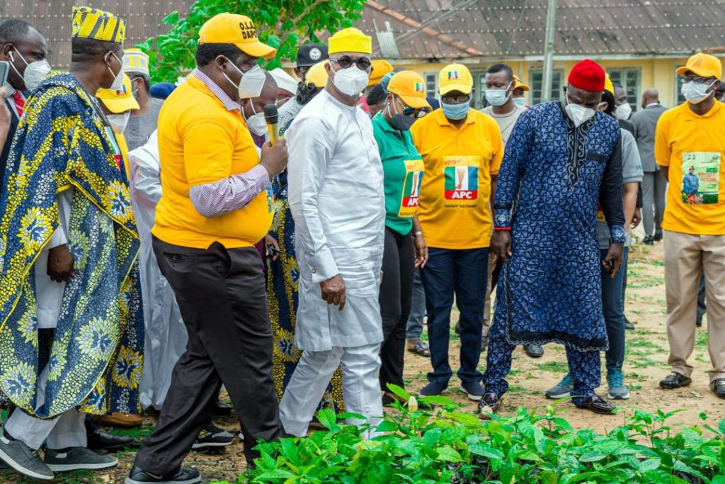 Abiodun, and other officials at Eweje Farm Institute, Odeda, Ogun State,
