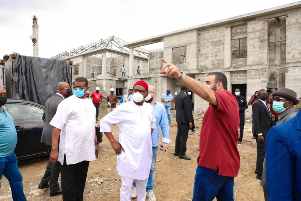 Governor of Rivers State Nyesom Ezenwo Wike (middle) during inspection of the ongoing civil construction work at the official residential quarters of lawmakers of the Rivers State House of Assembly in Port Harcourt on Friday.