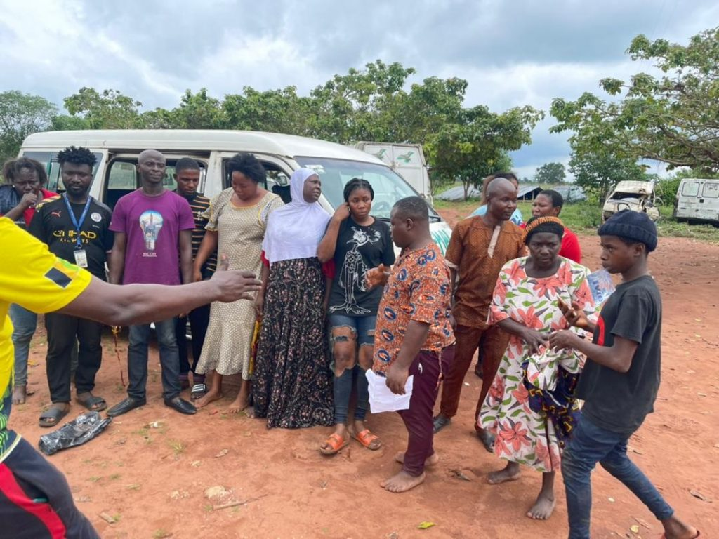 The travellers rescued from kidnappers by the police in Edo State