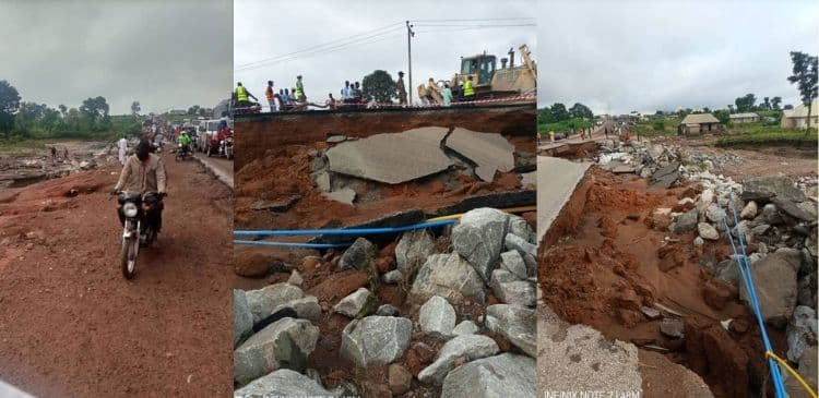 The collapsed section of Lokoja-Kabba highway