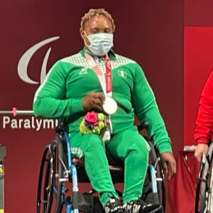 Bose Omolayo: WIns gold medal for Nigeria in the women's power lifting -79kg in the ongoing 2020 Paralympics in Tokyo.