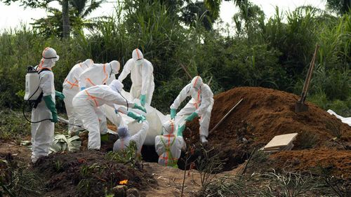 Victim of Bubonic plague being buried in Congo