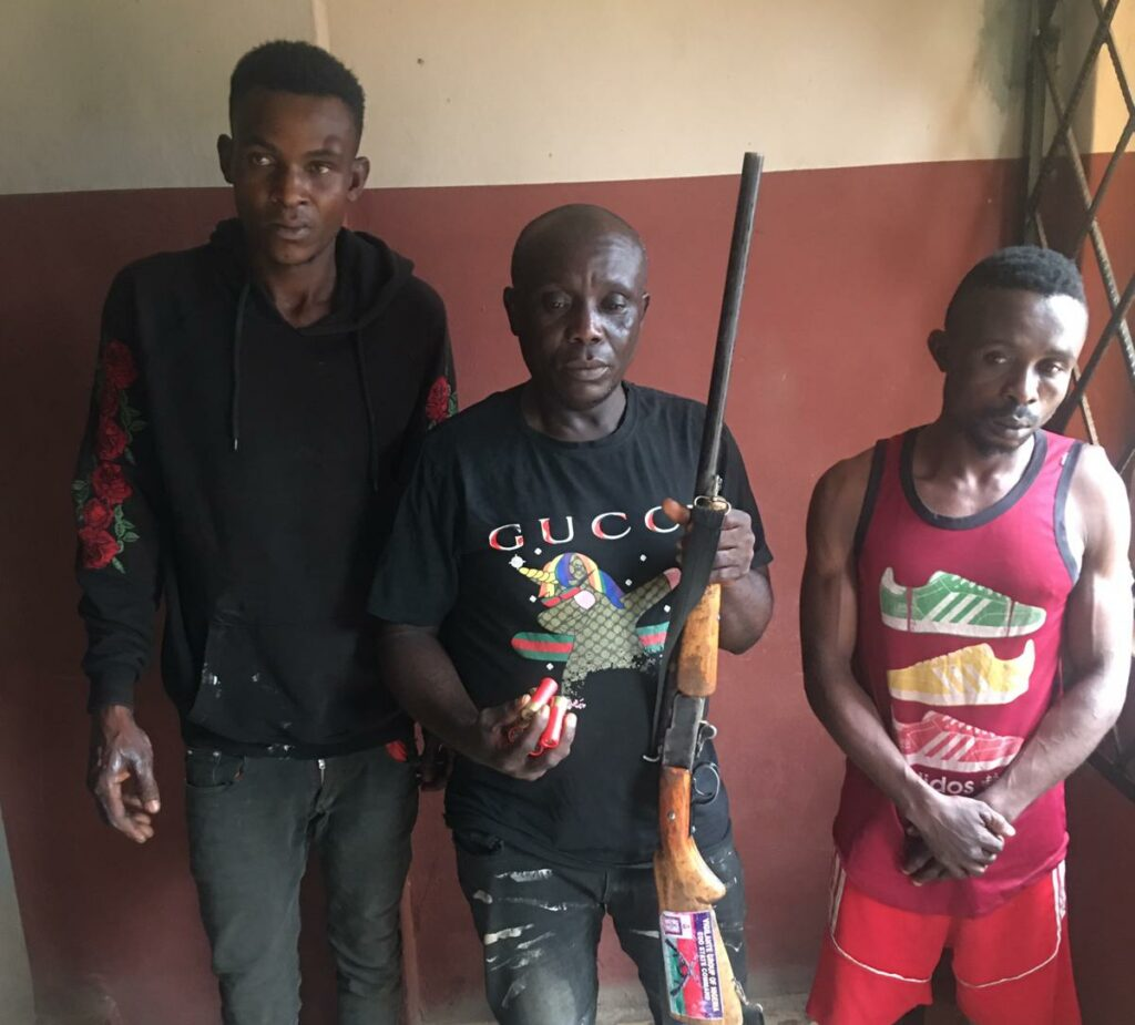 The 30-year-old member of the Edo State Vigilante group, Evans Osariemen, (Centre) and his accomplices: They were arrested arrested for allegedly conspiring to kidnap a couple, Sunday and Patience Onofua.