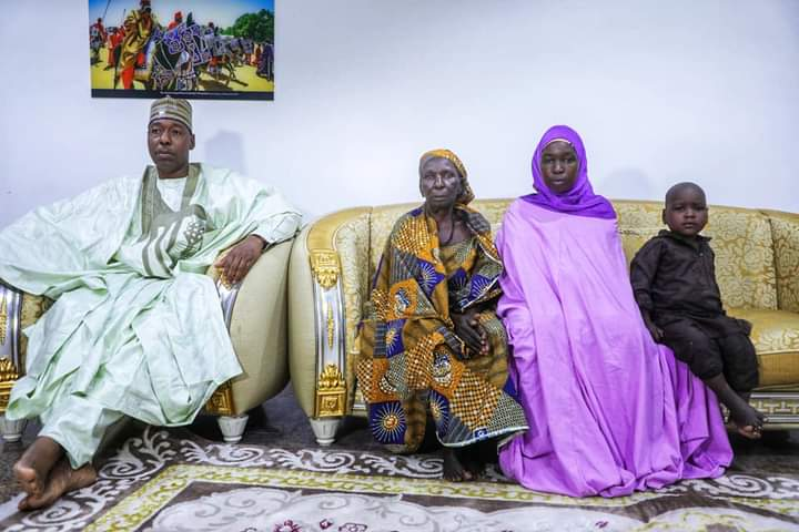 Governor Zulum, mother of Ruth, Ruth Pogu, the surrendered Chibok girl and one of her two children