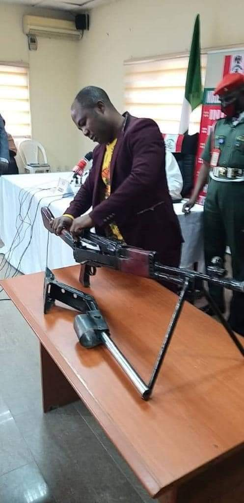 The fabricated high calibre G3 rifle with 78 rounds of life ammunition (RLA) of 7.62mm calibre and five empty shells recovered by Christian Chidiebere being dismantled at NDLEA office