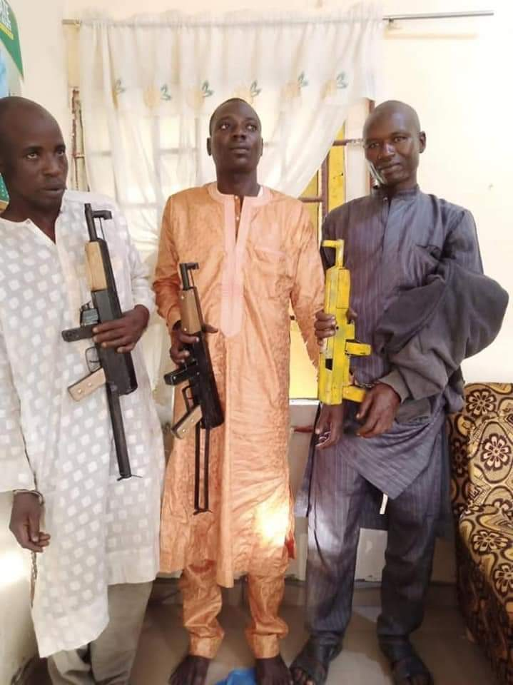 The three bandits arrested with AK-47 rifles by NDLEA operatives in Katsina