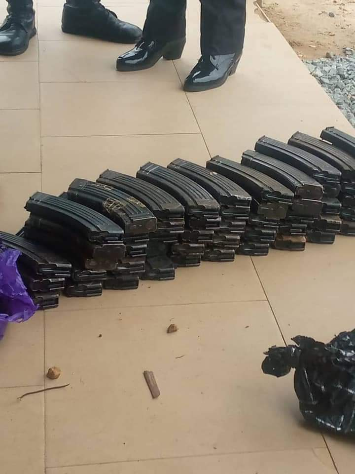 The  53 empty magazines recovered from the suspect arrested in Akwanga Local Government Area of Nasarawa state.
