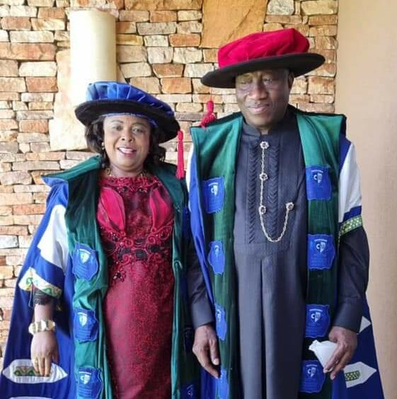Former President Goodlluck Jonathan and wife, Patience, during his formal inauguration as the Chancellor of Cavendish University Uganda on Thursday