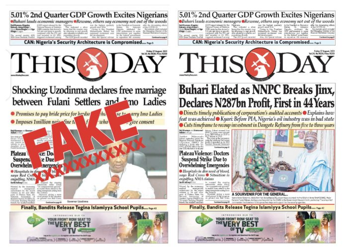 The fake version of THISDAY and the real version