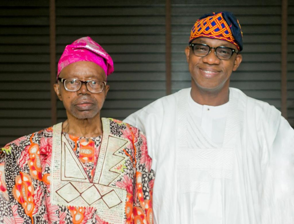 Pa Emmanuel Abiodun with his son and governor of Ogun State, Dapo Abiodun