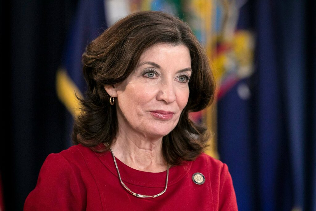Kathy Hochul: sworn-in as first female governor of New York,