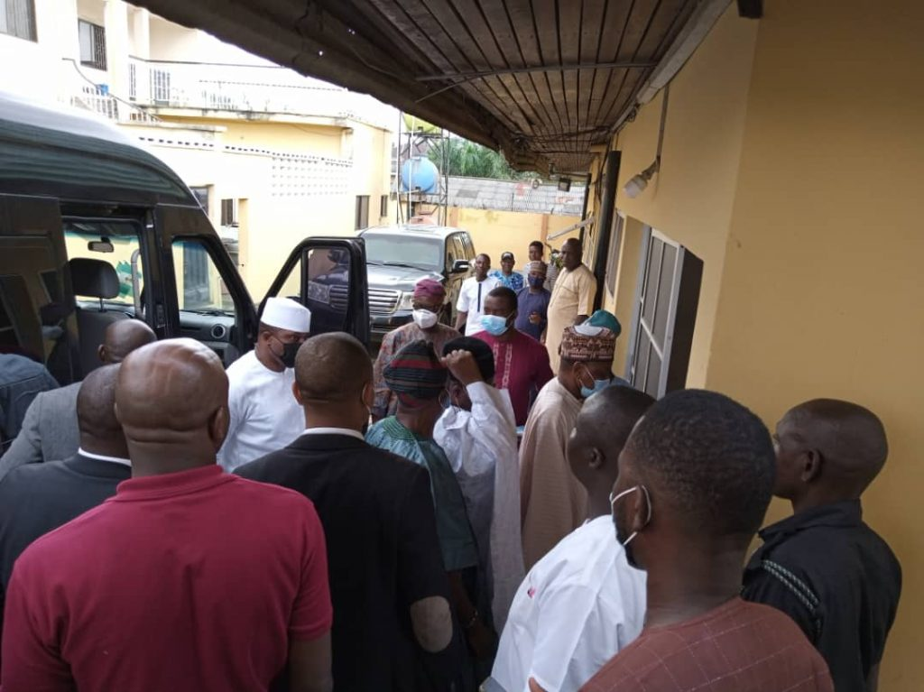 The three governors and former House of Reps Speaker, Dimeji Bankole on arrival at the residence of former Governor Ladoja on Saturday