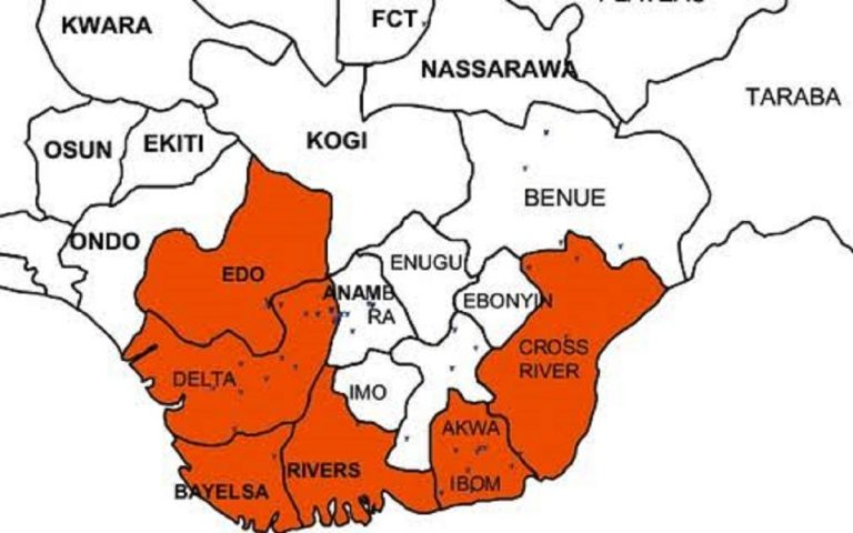 Map showing South-south of Nigeria: Group wants 2023 presidency to be zoned to South south