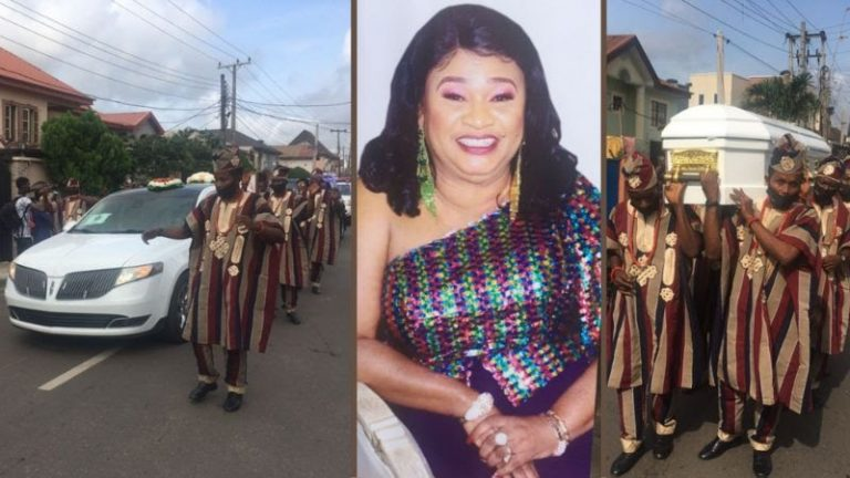 The burial procession of Rachel Oniga on Friday in Lagos