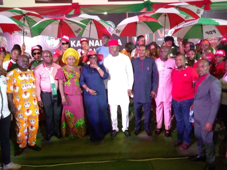 Peoples Democratic Party (PDP) members on Sunday during the inauguration of the Valentine Chineto Ozigbo Campaign Council to execute the campaign of its governorship candidate, Mr Valentine Ozigbo (4th from right in the pix)