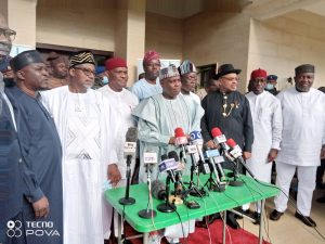 PDP Governors at the end of their meeting in Abuja on Monday