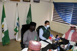 R-L: Mr Mustapha Ahmed, Director-General, NEMA and Mr Naseer AlSubaie, representative of the King Salman Humanitarian Aid and Relief Centre (KSRelief) at the inauguration of the upgraded NEMA Call Centre in Abuja