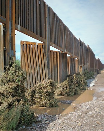 Section of Trump's border wall affected by flooding