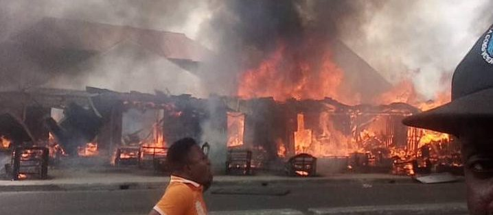 Timber market on fire in Port Harcourt