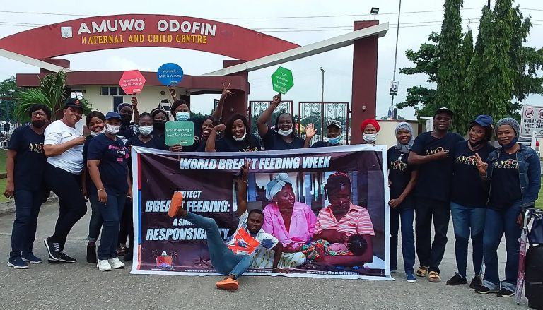 Participants at a sensitisation programme marking 2021 World Breastfeeding Week (WBW) organised by Amuwo Odofin Maternal and Child Centre (AOMCC), Festac Town on Thursday
